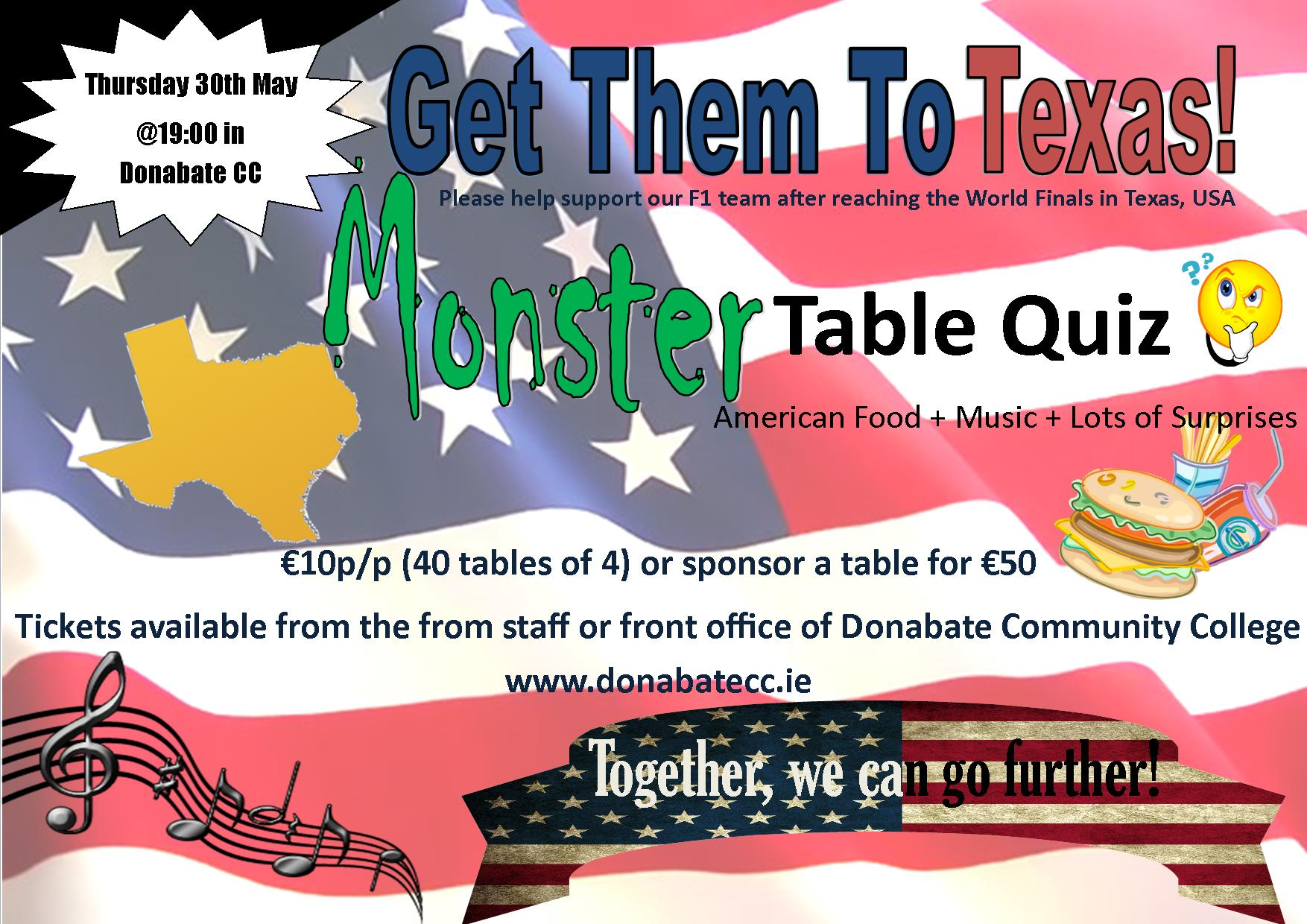 Monster community table quiz 30th may donabate community for Table quiz dublin